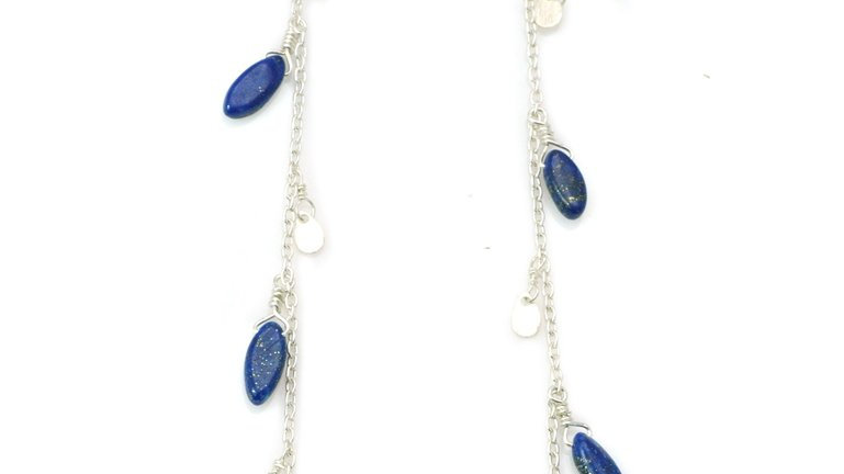 SS Chain/W Lapis Marquise Earrings