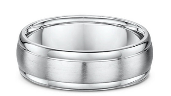 14k White Gold 7mm Brushed Center Polished Edge Wedding Band