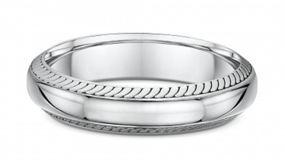 14k White Gold 5mm Knotched Edge Wedding Band