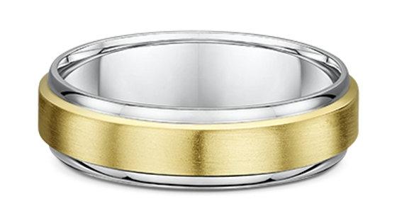 14k Yellow & White Gold 6mm Flat Brushed Center with Polished Edge Wedding Band
