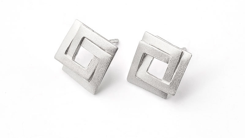 SS Post Infinity Square Earrings