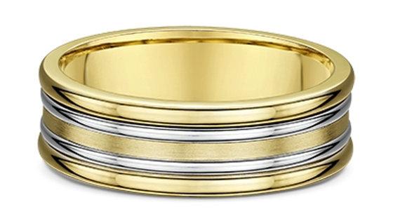 14k Yellow & White Gold 7mm Layered Wedding Band