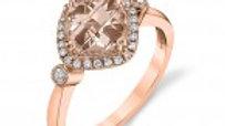 14k Rose Gld. Morganite/diamond ring.18ct dia /sz. 7