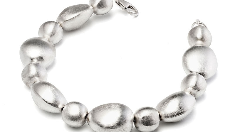 SS Alternating Pebble Stone Bracelet