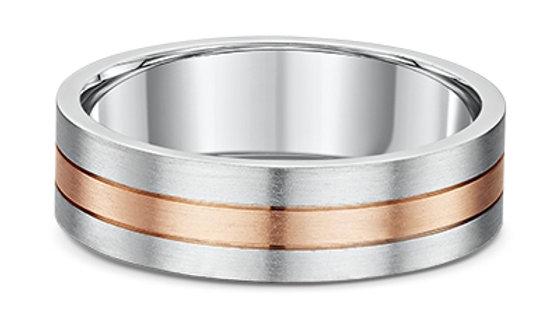 14k White & Rose Gold 6mm 3-banded Brushed Wedding Band