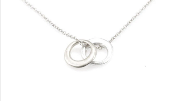 SS Vermeil Two Little Circles Necklace 16inch.