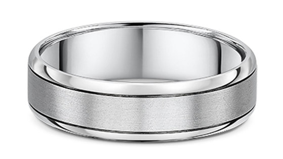 14k White Gold 6mm Wedding Band
