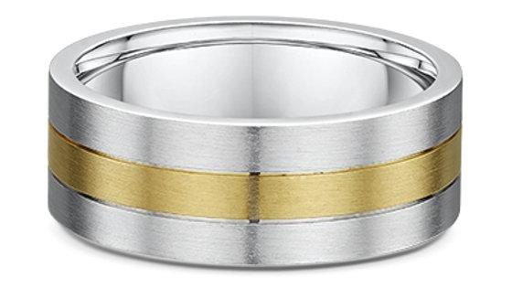 14k White & Yellow Gold 3-banded Brushed 8mm Wedding Band