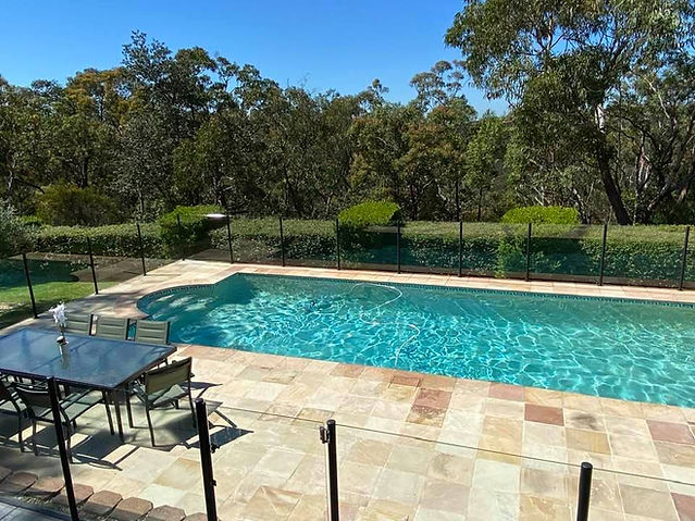 Natural Himalyan sandstone paved pool surround