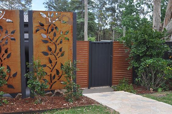 decorative screen, steel garden edging,