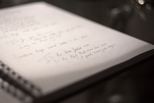 Handwritten lyrics : Any song