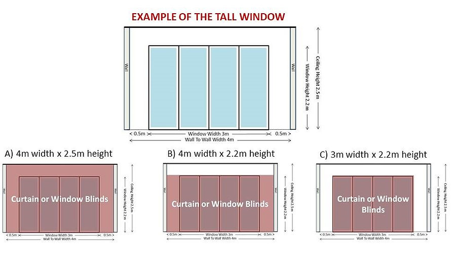 The diagram shows you the full detail on the tall windows or doors for your living or bedroom. There are three good examples of how you want to fix up your curtains or window blinds.