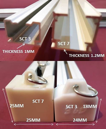 If you are willing to stretch your budget, you may consider using power strength SCT curtain rail track for your home. It is a good investment because SCT7 can last for up to thirty years and our company offers five years warranty on these exclusive products. We compare the difference between the normal SCT3 and SCT7 curtain railings, so you can decide what will be the best for you. SCT7 curtain tracks are more prominent, smoother in operating and they can withstand the more massive load weight up to 28kg. However, SCT3 standard curtain railings also have the upper hand because they are more cost-effective than SCT7 that all.