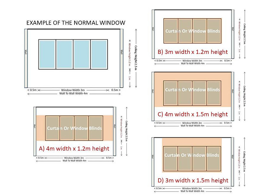 Let us discuss on the standard windows which most of us have in Singapore. You can consider putting your curtains or window blinds in four different ways as the picture showed. Once you decided on the fixture, please contact us for the quotation.