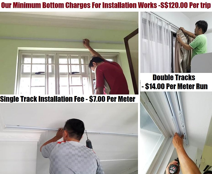You can be sure that our installation charges on the curtain rail track are the rock-bottom in Singapore. Most importantly, we promise you that our well-qualified installers can help us deliver your job with satisfaction and put a smile on your face. Last but not least,  we give assurance for your completed-job, and we will be responsible for any unforeseen failure at no cost to you within one year.