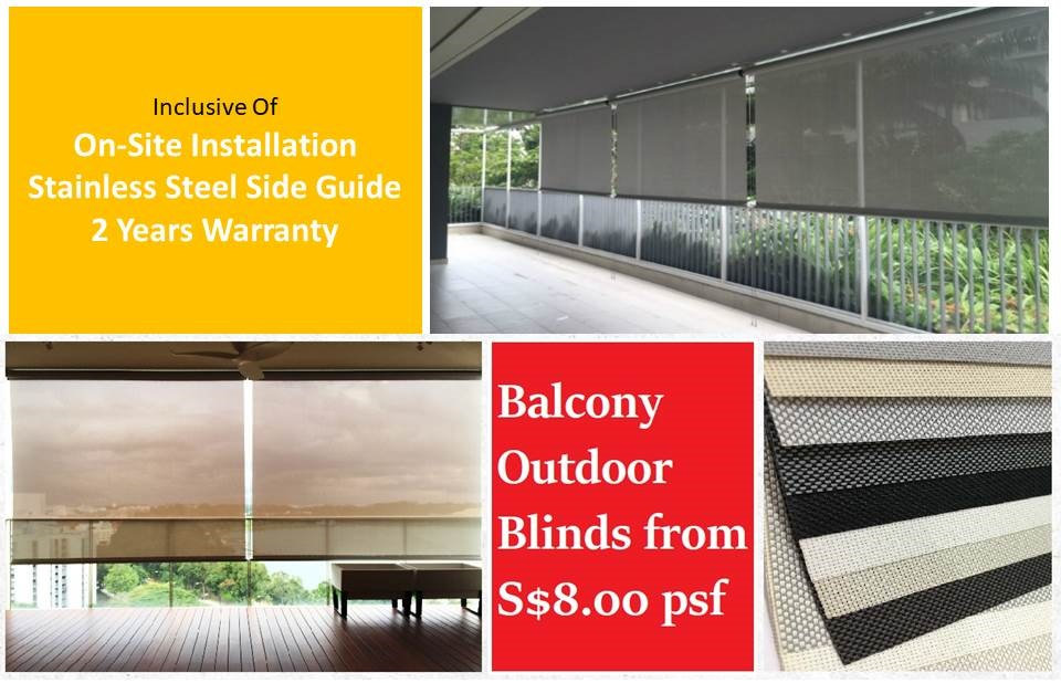 There are many convincing reasons why you need to install the outdoor blinds at your open balcony space in Singapore. Most importantly, these shades can minimum the rainwater from splashing into your area, fend off blazing sun glare that may gradually destroy their interior furnishing. At Window Blind Singapore, we provide the best robust-quality outdoor roller screen with the best assurance of two years warranty that allows you to utilize your balcony and turn it into an indoor area for other uses.