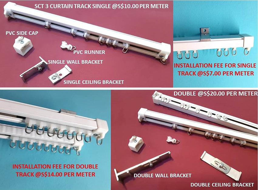 AT the guaranteed lowest affordable price, Singapore Curtain Rail Track Supplier offer $10.00 per meter run on the SCT3 heavy-duty aluminum curtain tracks which consist of white corrosion-free metal rail, curtain sliding runners, plastic side end caps, and wall or ceiling mounting brackets.
