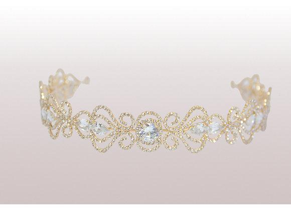 Tiara dourada arabescos com strass