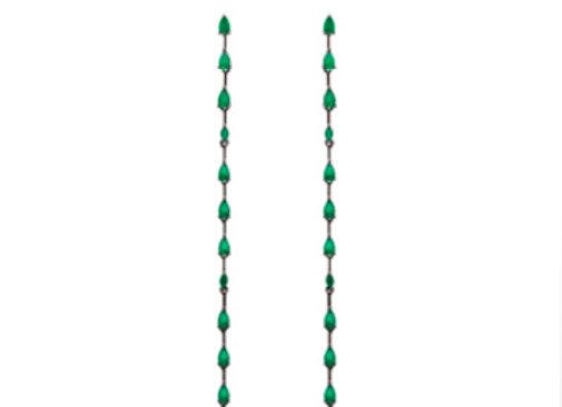 Brinco Gotas de Cristais Esmeralda