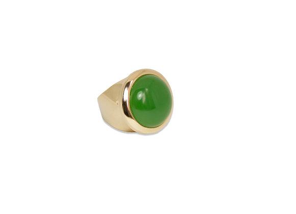 Anel Dourado Pedra Verde