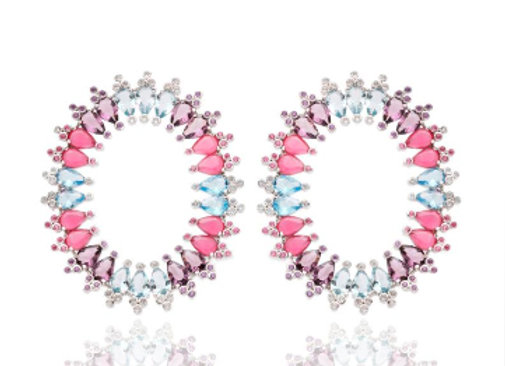 Brinco Oval de Gotas Coloridas