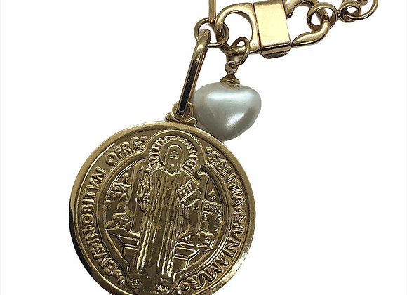 Colar corrente elos com medalhão