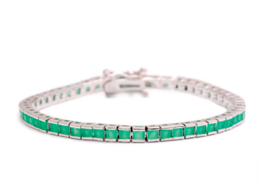 Pulseira Rivieira Quadradinhos Cristal Esmeralda