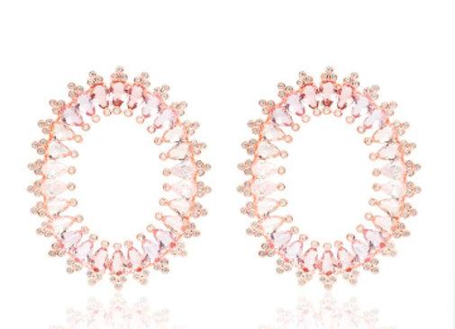 Brinco Oval Gotas Tanzanitas Rose