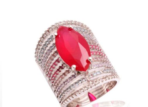 Anel Navete de Cristal Rubi