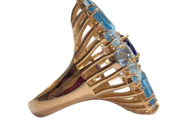 Anel ouro cristais azuis e zirconias cristal