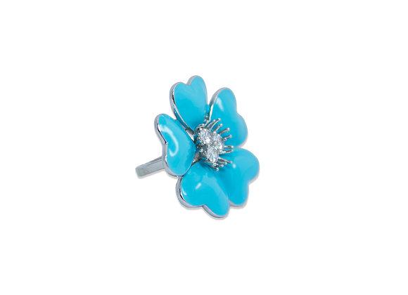 Anel Flor Laca Azul