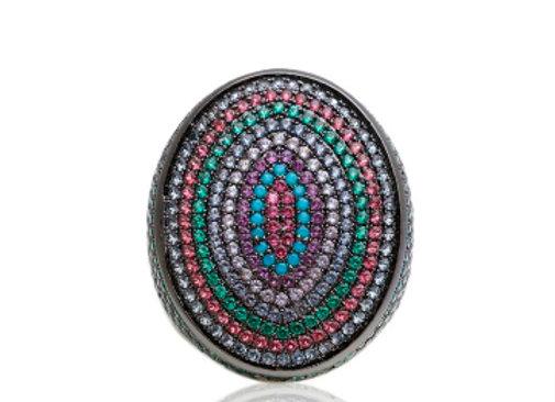 Anel Oval Colorido Cravejado
