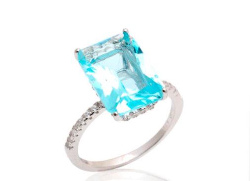 Anel Cristal Retângulo Azul