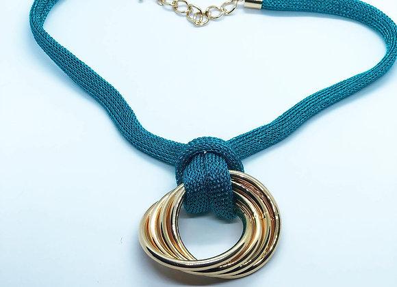 Colar cordão turquesa metalizado