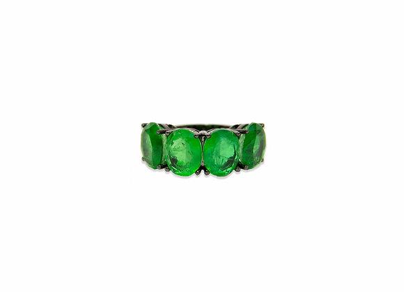 Anel quatro pedras verde esmeralda