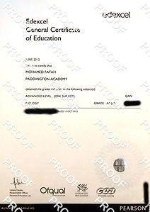 A-Level Biology Certificate