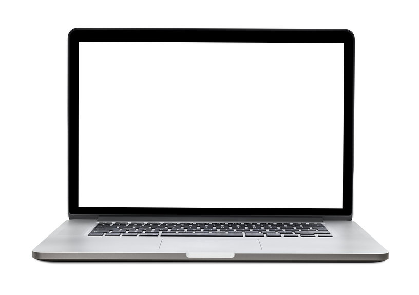 Laptop with blank screen isolated on whi