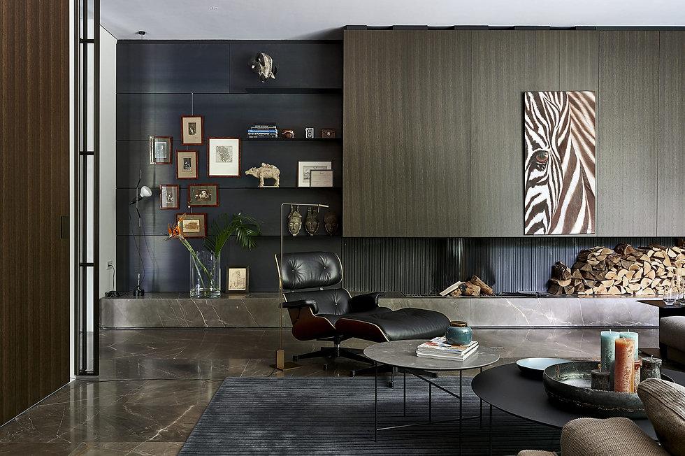 studio dis interior design, custom design fireplace by ewald bosgoed, vitra eames chair