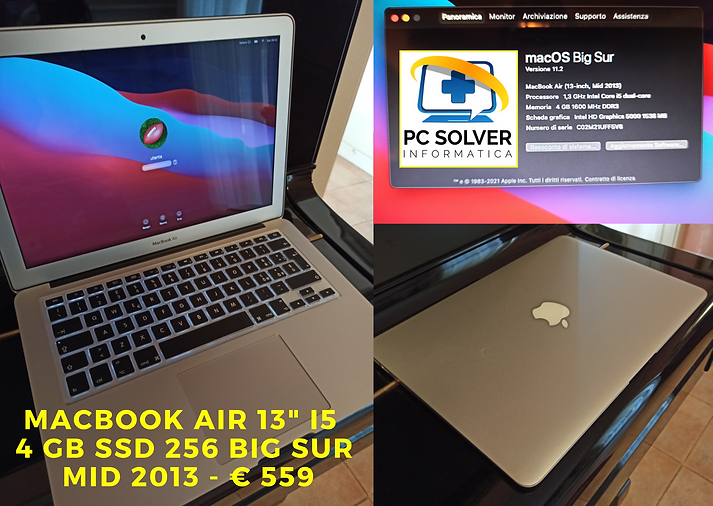 Macbook air 13_ i5 4 gb ssd 256 Big Sur