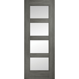 Daiken 4 panel clear glass grey door