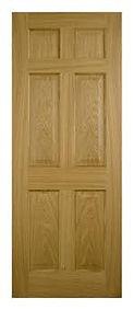 Solid Oak 6 Panel unfinished Door