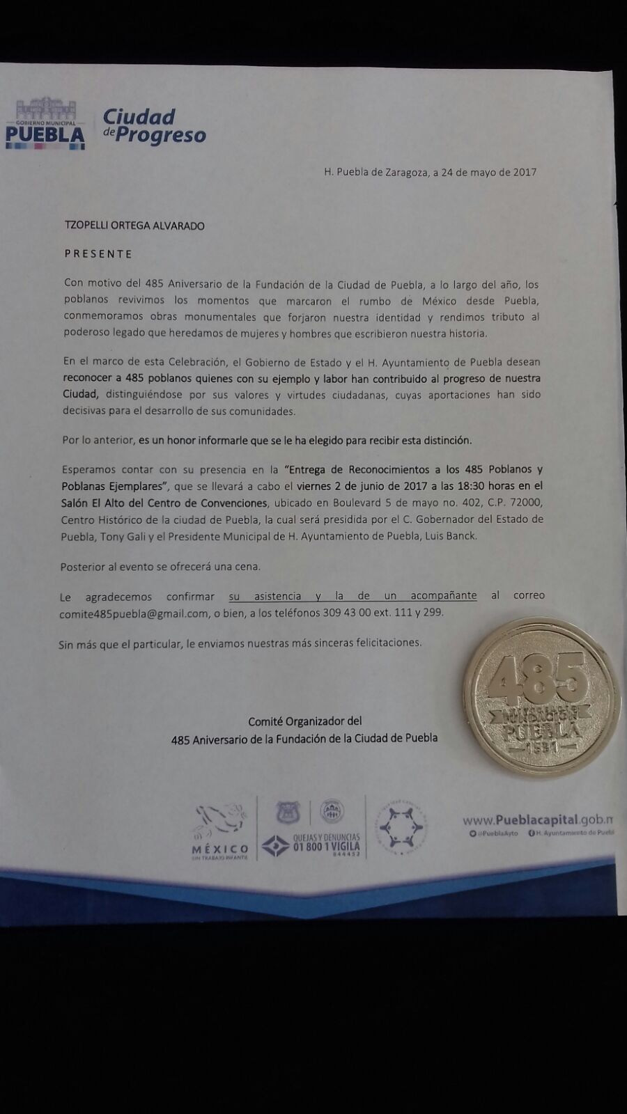 Orgullosas del Reconocimiento otorgado por el H. Ayuntamiento de Puebla, Pue, Junio 2017