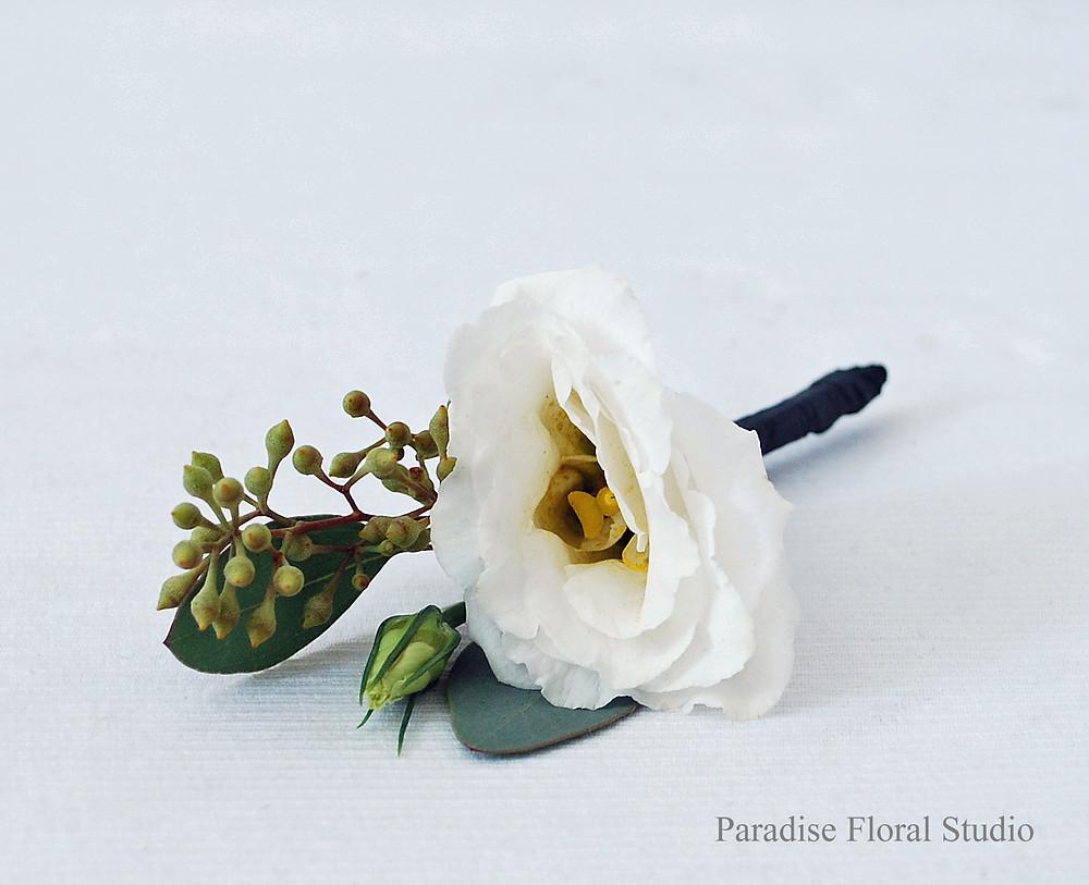 Boutonniere, white, lisianthus, seeded eucalyptus, wedding, paradise floral studio