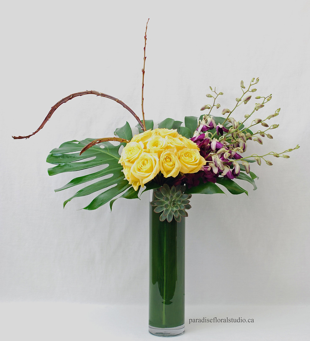 Modern tall, roses and orchids