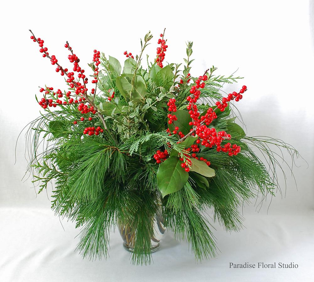 Ilex vase arrangement
