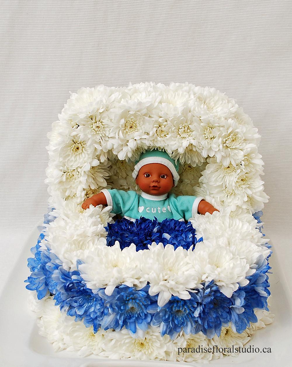 Floral bassinet, baby shower