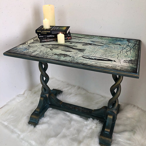 Hand painted, Up cycled Double Barley Twist Side Table