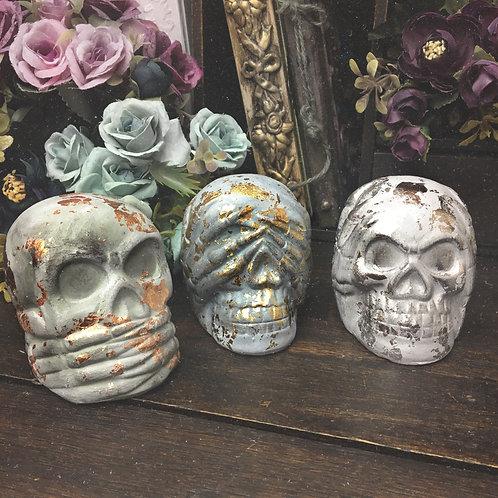 3 Wise Monkeys Ceramic Skull Decorations