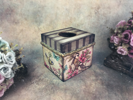 Simple Decoupage Tutorial on a Wooden Tissue Box
