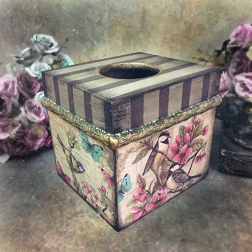 Vintage Birds Tissue Box Holder